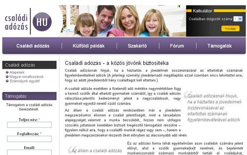 A www.csaladiadozas.hu honlap nyitóoldala