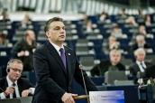 Orbán Viktor miniszterelnök értékelte a magyar soros elnökséget az Európai Parlamentben, július 5-én. Fotó: Burger Barna