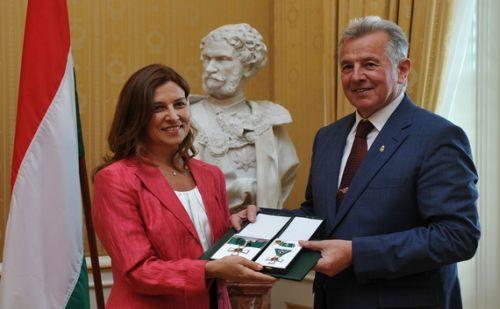 Schmitt Pál köztársasági elnök, Aliza Bin-noun izraeli nagykövet asszony fotó:MTI