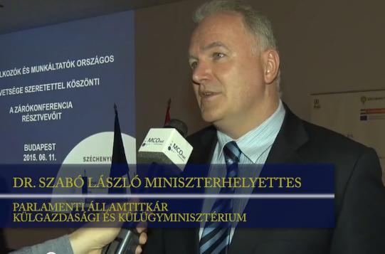 Dr. Szabó László külgazdasági és külügyminiszter-helyettes