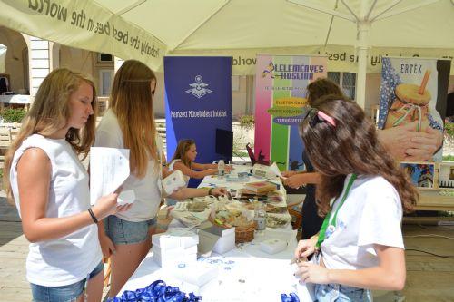A Nemzeti Művelődési Intézet Békés megyei irodája által támogatott stand a Kárpát-medencei Kulturális Ifjúsági Fesztiválon