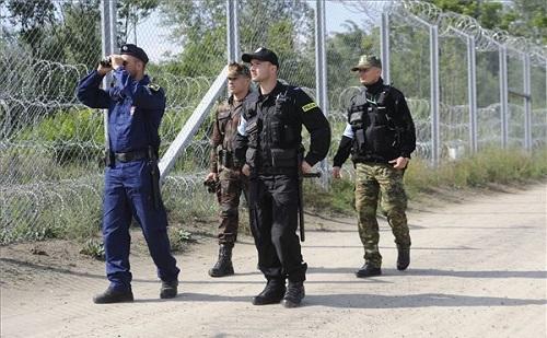 Lengyel rendőrök és határőrök a szerb határon