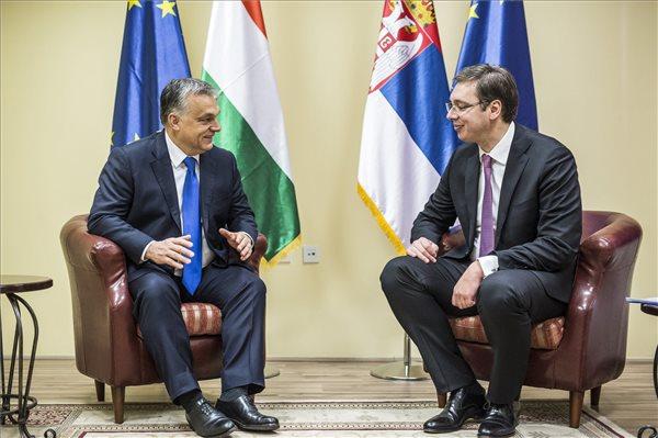 Orbán Viktor miniszterelnök és Aleksandar Vucic szerb miniszterelnök