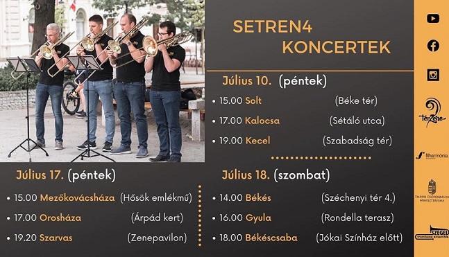 A Szeged Trombone Ensemble ingyenes koncertet ad a gyulai Várkertben