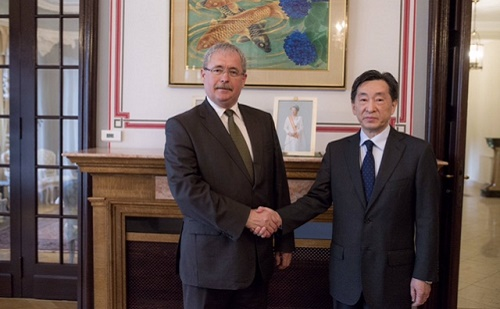 Fazekas Sándor Koszuge Dzsunicsi japán nagykövettel találkozott